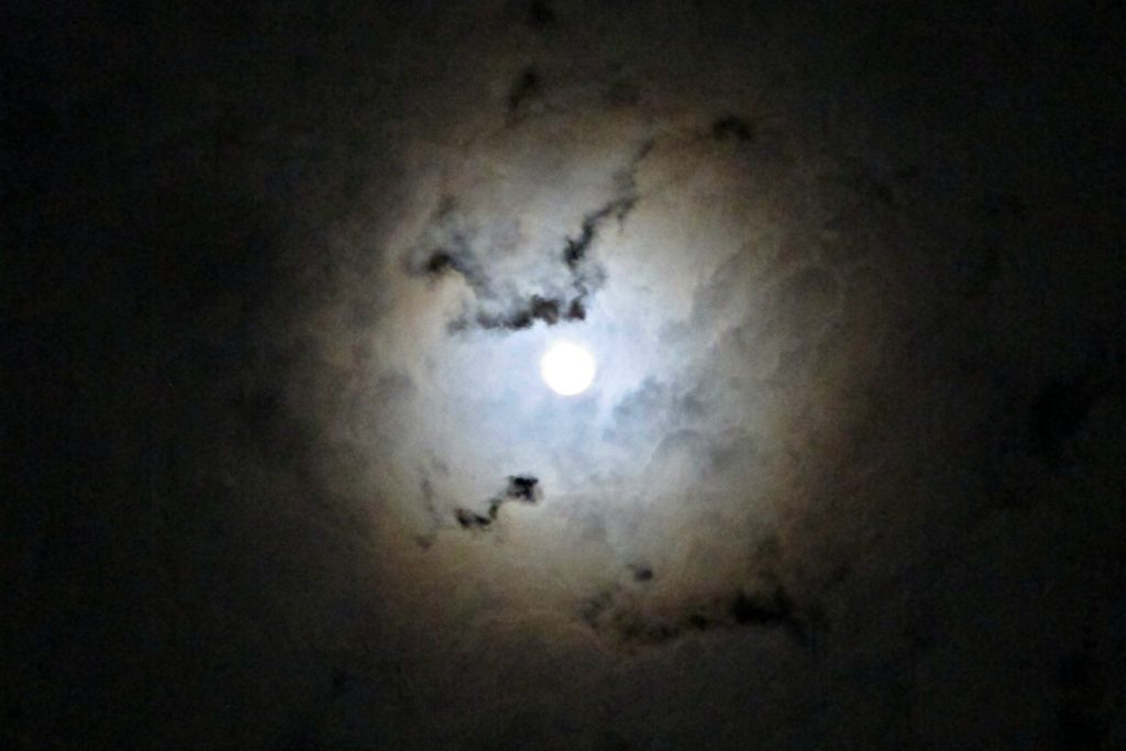 Cloudy full moon