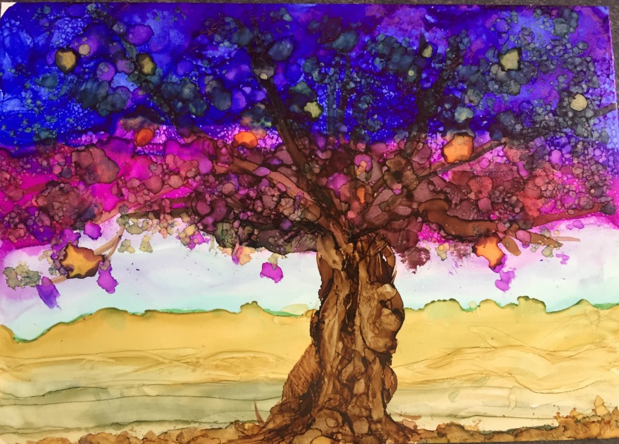 Alcohol Ink Tree Painting