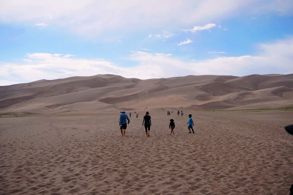 Hiking with friends Great Sand Dunes National Park