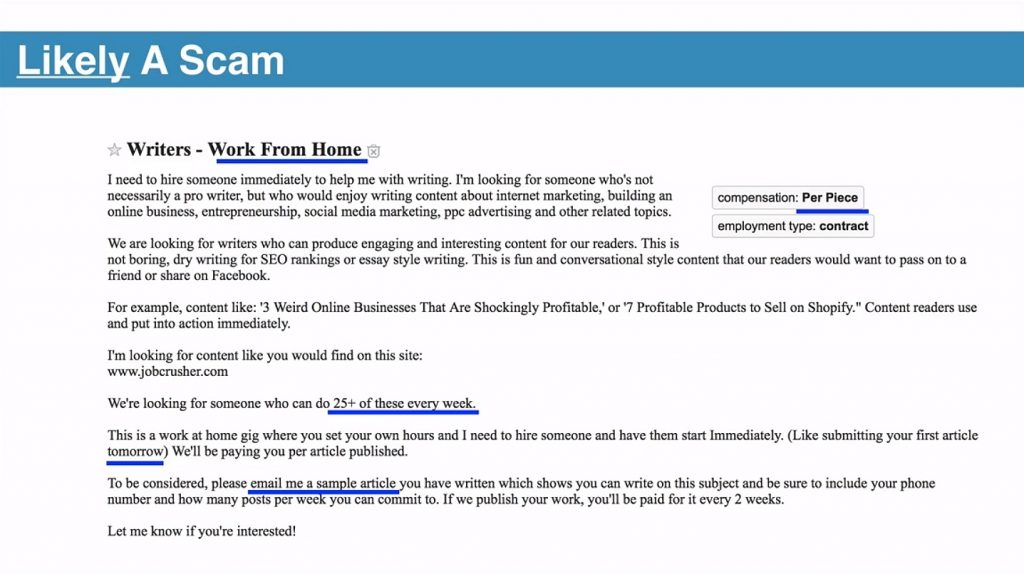 Example Ad Featuring a Work-From-Home Scam